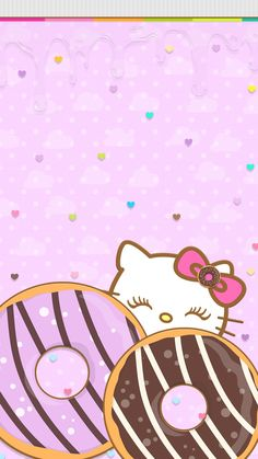 Donut kitty Sanrio Wallpaper, Kawaii Wallpaper, Pink Wallpaper, Wallpaper Quotes, Iphone Wallpaper, Hello Kitty Backgrounds, Hello Kitty Wallpaper, Art Sayings, Art Quotes
