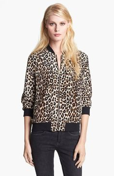 Equipment 'Abbot' Leopard Print Silk Bomber Jacket | Nordstrom