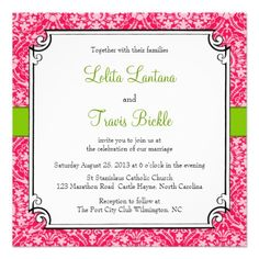 38 best pink green wedding invitations images on pinterest pink