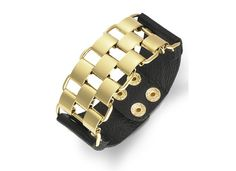 Awesome steal under $20: Metallic chain and black strap bracelet. Love the contrast of textures, and amazing price