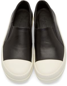 Rick Owens Black Leather Boat Sneakers
