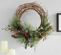 "Red Berry & Pine Home Decor 24"" Wreath PB"