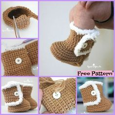 Crochet UGG style Booties – Free Patterns These Crochet UGG style Booties are so soft and warm, and they are super comfortable too! Crochet Boots Pattern, Crochet Baby Socks, Baby Girl Crochet Blanket, Newborn Crochet Patterns, Baby Shoes Pattern, Crochet Shoes, Crochet Baby Booties, Crochet Slippers, Crochet For Kids