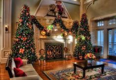 A Splendid Southern Christmas-Christmas by the fireside. Look at those trees! I never get tired of looking at this!