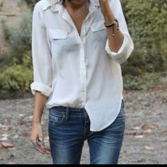 Nothing better than a white button shirt and jeans