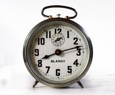 Antique French  BLANGY Metal Alarm clock by RueDesLouves on Etsy, $95.00