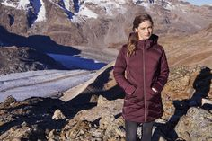 This elegant coat with ultra-warm down filling is not just utterly cozy, but, due to its graceful design lines, also adorably stylish. Warm Down, Fur Trim, Winter Coat, Chevron, Winter Jackets, Cozy, One Piece, Running, Lifestyle