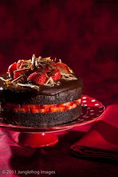 Devil's food cake with strawberries