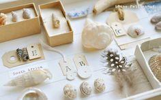 Nodig: klein wit dienblad diverse (zelfverzamelde) schelpen en andere souvenirs doosjes labels visje van klei letterstempels afplakba...