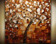 original tree painting abstract white cherry от ModernHouseArt