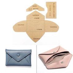 DIY de cuero de la tarjeta. monedero de la moneda de coser patrón duro de papel Kraft plantilla 110x70mm
