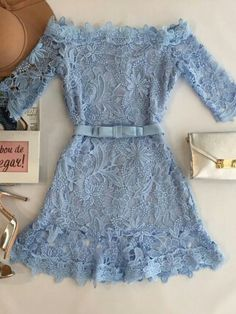 Blue lace dress with some nice accessories Mode Outfits, Girly Outfits, Cute Casual Outfits, Dress Outfits, 80s Fashion, Girl Fashion, Fashion Dresses, Fashion Looks, Womens Fashion