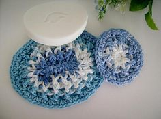 Custom Crochet Special Set of One Large and One Mini Soap Dish TIE DYE BLUE by customcrochet, $5.00 USD