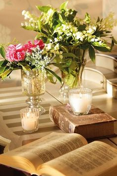 Vintage Books and vases.