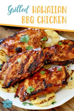 Grilled Hawaiian BBQ Chicken with Pineapple Honey Chipotle Grillin' Beans will be your new favorite Memorial Day, Labor Day and 4th of July! Quick Dinner Recipes, Summer Recipes, Bbq Chicken, Tandoori Chicken, Recipe Using Chicken Breasts, Hawaiian Bbq, Fourth Of July Food, Best Bbq, Best Chicken Recipes