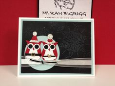 Owl punch Christmas card.  All Stampin' Up! Product