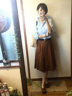 5月21日 ユニクロコットンブロードシャツにZARAミモレ丈スカートのお嬢さんスタイルで蔦屋家電