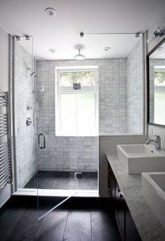 Modern Farmhouse, Rustic Modern, Classic, light and airy bathroom design ideas. Bathroom makeover ideas and bathroom remodel ideas. Bathroom Windows, Bathroom Renos, Bathroom Renovations, Bathroom Interior, Bathroom Mirrors, Bathroom Cabinets, Small Bathroom Window, Seashell Bathroom, Bathroom Black