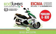 Siamo all'Eicma di Milano padiglione 6/B30 dal 7-10 Novembre 2013! Ti aspettiamo per un giro di prova elettrizzante!