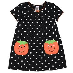 Pumpkin Polka Dot Dress Set    Might Just have to get this one!