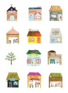 Draw Lots of It post by Studio Sjoesjoe; illustration by Aiko Fukawa. Art And Illustration, Illustration Mignonne, Building Illustration, Illustrations Posters, Magazine Illustration, Mail Art, Painting, Illustrators, Stationery