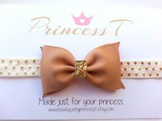 Girls/Baby Headband Golden Beige Hair Bow by BowtiquebyprincessT