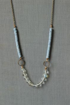 beaded statement necklace for office fashion with rondelle beads in light blue on long chain
