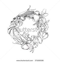Wreath vegetables vector  - stock vector