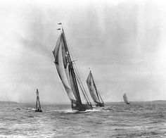 """Racing for the Buoy"" Grand Bank fishing schooners racing during International Fishing Schooner Races W.R. MacAskill, 1922 Nova Scotia Archives accession no. 1987-453 no. 6003"