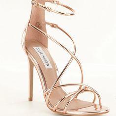 Rose Gold Strappy Heels, Stiletto Heels, Shoes Heels, Steve Madden, Dress Sandals, Dress Shoes, Dress Outfits, Dresses, Prom Heels