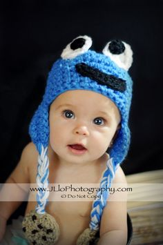 Cookie Monster Hat w/ Cookie Tassles by JLloPhotographyProps, $32.99