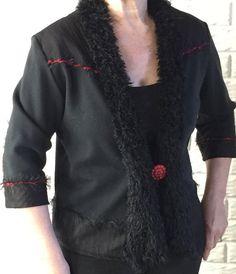 Sweatshirt Jacket w Furry Scarf Collar, Black Sweatshirt Jacket, Ladies Sweatshirt Jacket, Women's Sweatshirt Jacket.  https://www.etsy.com/listing/285591485/sweatshirt-jacket-w-furry-scarf-collar?ref=shop_home_active_11