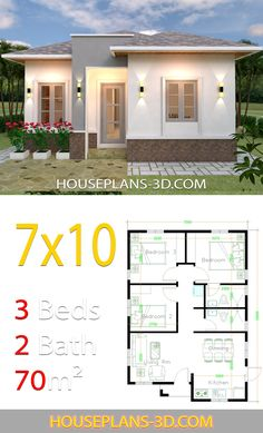 House design 7x10 with 3 Bedrooms Hip roof - House Plans 3D 3d House Plans, Simple House Plans, Duplex House Plans, House Layout Plans, Simple House Design, Bungalow House Plans, Modern House Plans, House Layouts, Flat Roof House