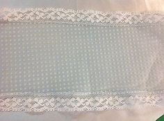 Blue Dot Swiss Trim with Double  White Lace    4 1/2 inch wide       2 yards