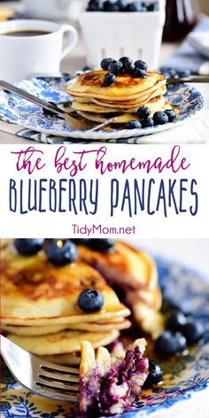 The BEST Homemade Blueberry Pancakes Every recipe box needs an easy to whip up, soft and fluffy Homemade Blueberry Pancakes. Filled with fresh berries and bursting with flavor they're always a hit for breakfast or dinner! Print the full recipe at Homemade Pancakes, Pancakes Easy, Vanilla Pancakes, Waffles, Brunch Recipes, Gourmet Recipes, Cooking Recipes, Scones, Pancake