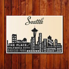 Seattle Skyline Poster. Typography Poster Print. City of Seattle Art Print. 12 x 18
