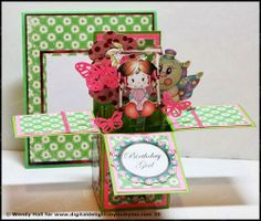 Stop by our blog today http://digitaldelightsbyloubyloo.blogspot.com/ for an extra tutorial on how to make this pop up box card using our temple. Card shown uses our pop up box card template, swinging Dolly and Bugsly from www.digitaldelightsbyloubyloo.com. Template also comes with envelope for box card