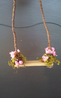 Fairy or Doll Flowered Swing by DancingFrogs44 on Etsy