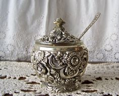 Vintage Preserve Pot Jam Jar with Spoon by cynthiasattic on Etsy, $29.00