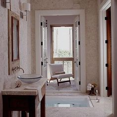 My Home Ideas - bathrooms - in ground tub, in ground bathtub, zen bathroom,  Colleen Duffy - beautiful stone coastal bathroom design with wo...