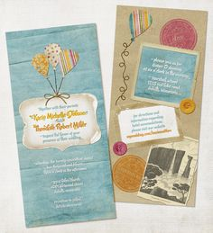 "I designed our invitations using the ""Blossom"" digital scrapbooking kit from The Shabby Shoppe. I wanted them to look like something that would have fallen out of Ellie's Adventure Book.  :)  (http://www.theshabbyshoppe.com/scripts/prodView.asp?idproduct=289)"