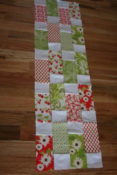 "Step by step easy quilt 100 7-1/2""X 3-1/2"" rectangles from the print fabrics and 100 3-1/2"" X 3-1/2"" squares from your neutral fabric."