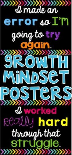 Growth Mindset Posters for your classroom with black backgrounds! 10 posters are included with a variety of student-friendly quotes that can be posted and referenced to build growth mindset and community building.