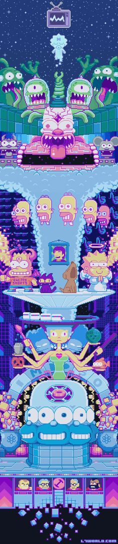 The Simpsons have never been edgier than in this week's episode My Fare Lady. The opening sequence has been reimagined in pixel form complete with Lo-fi video game music.The family gets digitized into a video game world resembling art by Robertson titled We Made It. The camera pans up a towering homage to classic episodes that includes the Mr. Sparkle mascot, the Stonecutters, and the infamous three-eyed fish. l7world.com/...