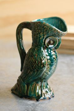 Turquoise Owl Vase with Handle - if I ever get back into ceramics I intend to make this!