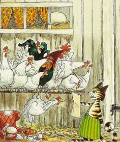 Sven Nordqvist Art And Illustration, Botanical Illustration, Illustration Botanique Vintage, Art Fantaisiste, Nordic Art, Coq, Whimsical Art, Vintage Pictures, Crazy Cats