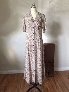 7163fcd5 Grunge 90's doing Depression Era 40's floral maxi rayon shirt dress ,  Button down Dress, Vintage dress, Small / Medium