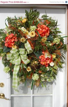 Spring and Summer Deco Mesh Wreath by HangingTouches on Etsy, $149.00