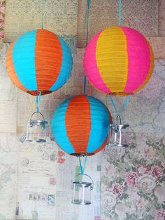 DIY Party Decorations - hot air balloons using paper lanterns