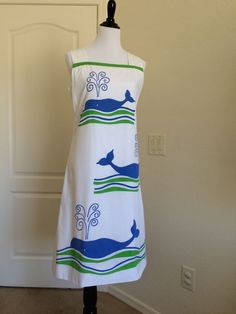 VTG Vested Gentress Apron-Front Dress - Sz 12 - Blue Whale Pattern - LOVELY! #TheVestedGentress